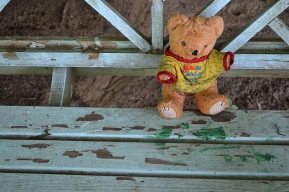 scene and summary, teddy bear, stuffed animal, dirty