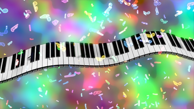 piano keys, music, colorful