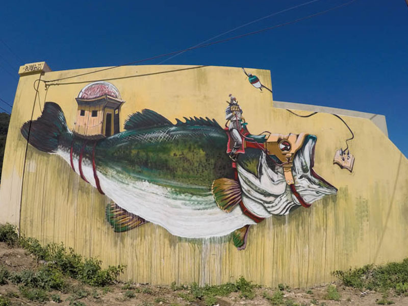 Big fish on the walls of Greece