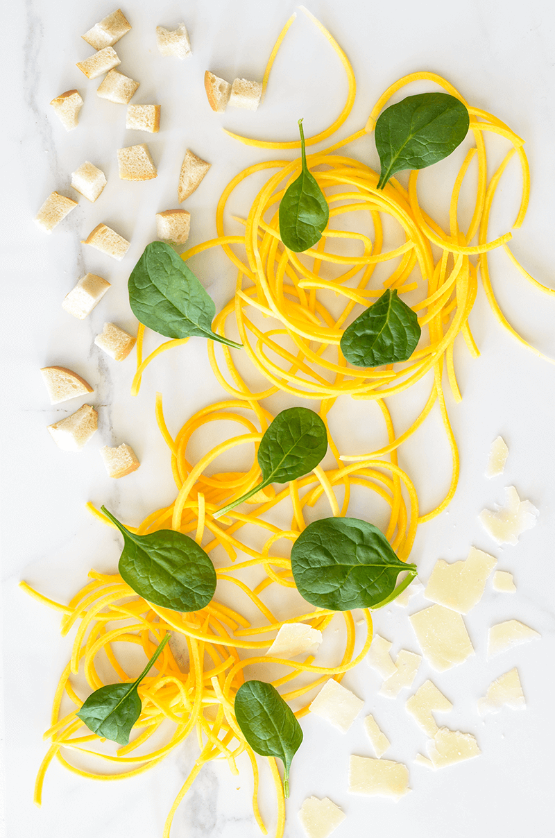 Butternut Noodles with Spinach & French Bread