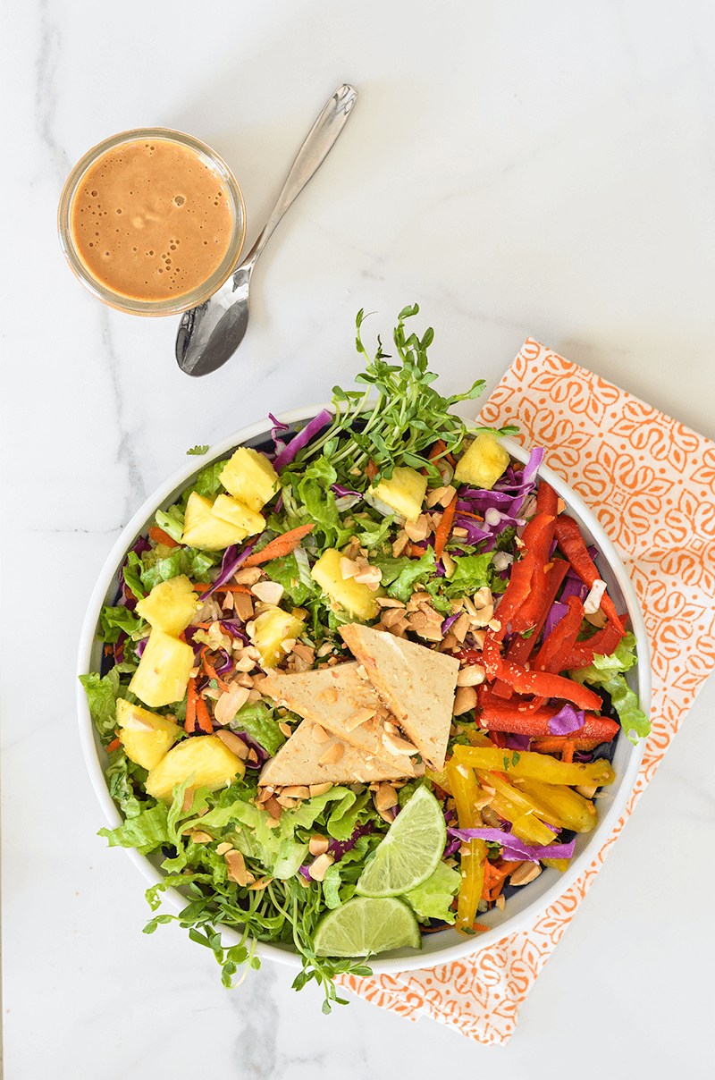 Crunchy Chopped Salad with Lemongrass Tofu & Peanut Dressing