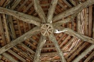 ceiling of rustic pavilion at Tower Hill Botanic Garden