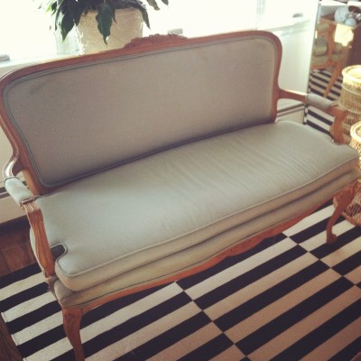 A lovely little settee and what fabrics she got