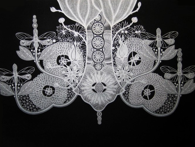 Chandelier 1 Drawings Silver On Black Series Metallic Ink Paper 2009 Mary O Malley Artist