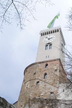 Clock tower overlooking Ljubljana