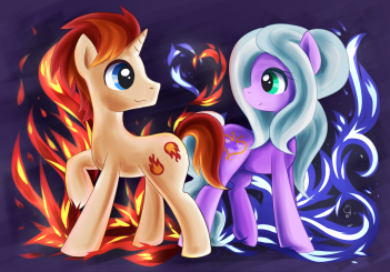 Eclipse Flare and Wisteria Bell. Drawn by exceru-hensggott