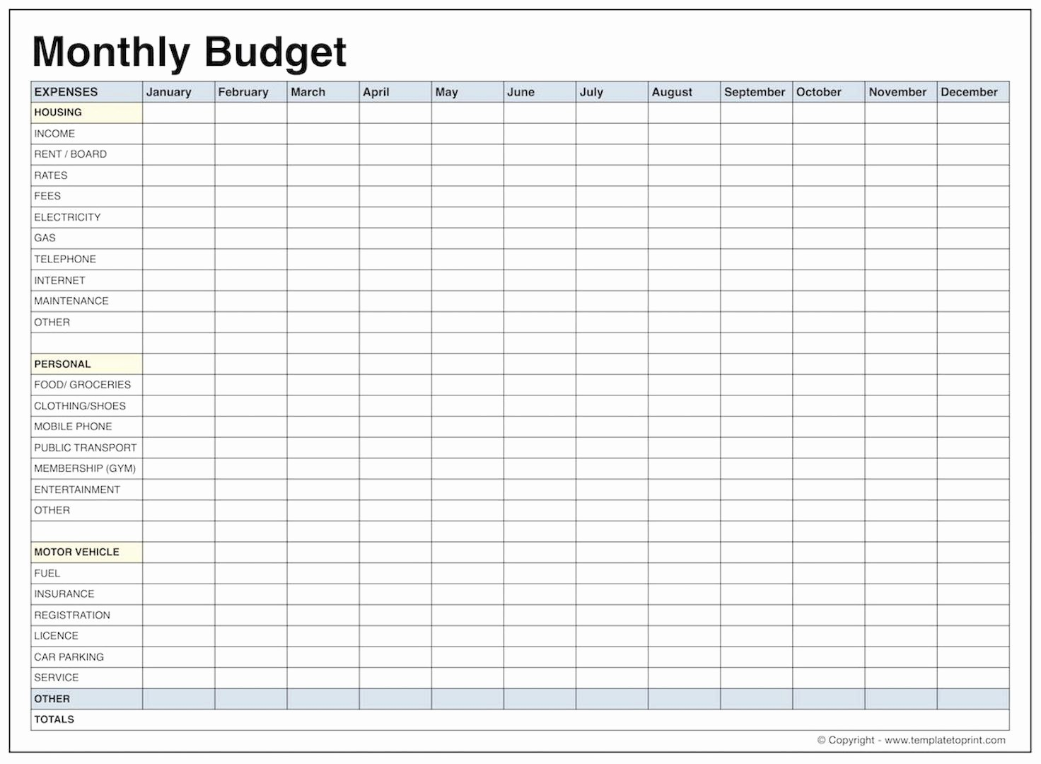 Free Monthly Budget Template