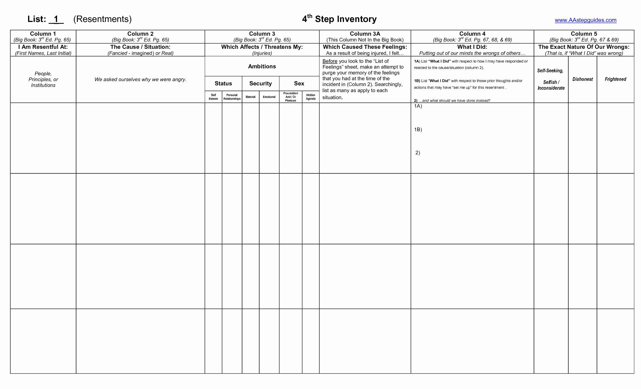 4th Step Worksheet