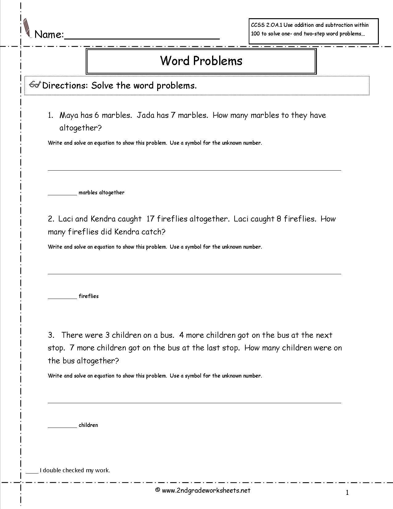 Grade 2 Math Word Problems Printable Worksheets