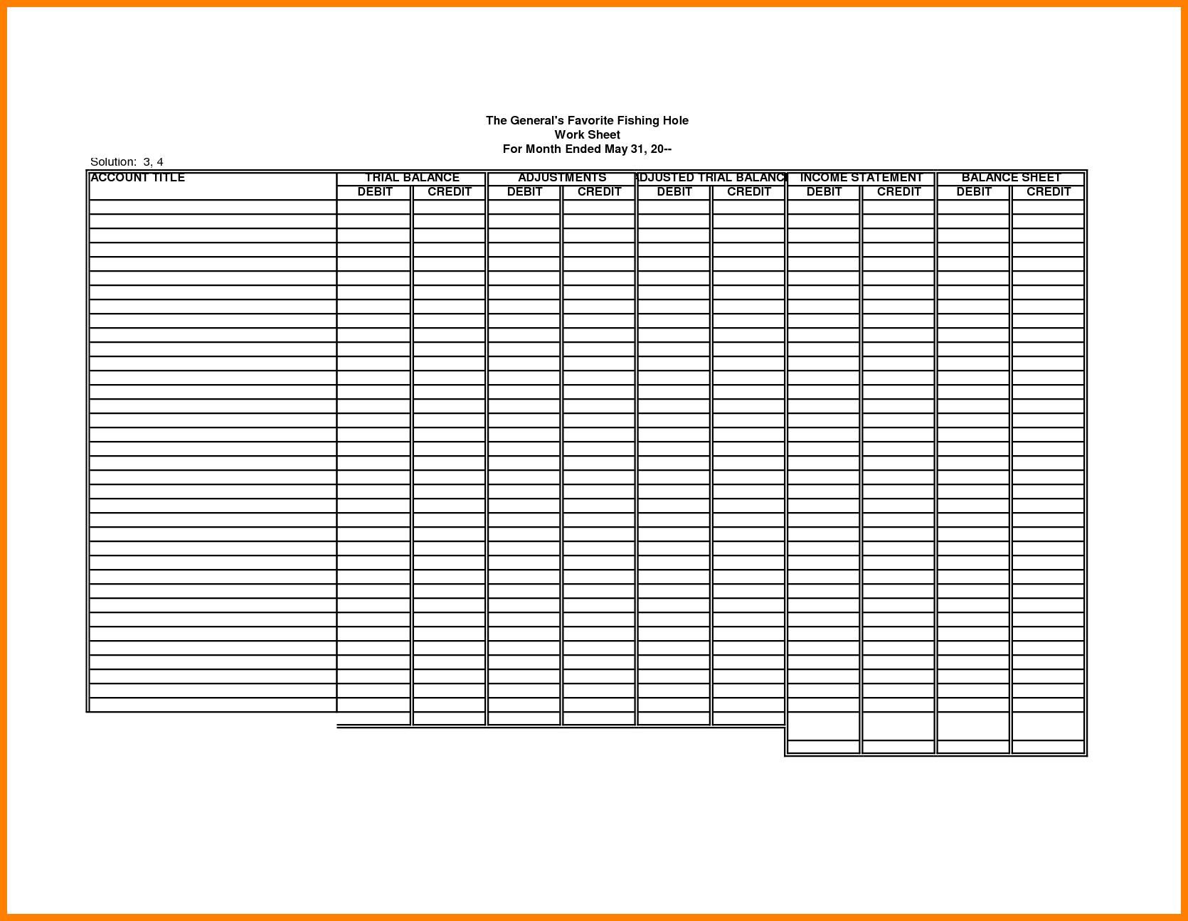 Accounting Worksheet Template Printable