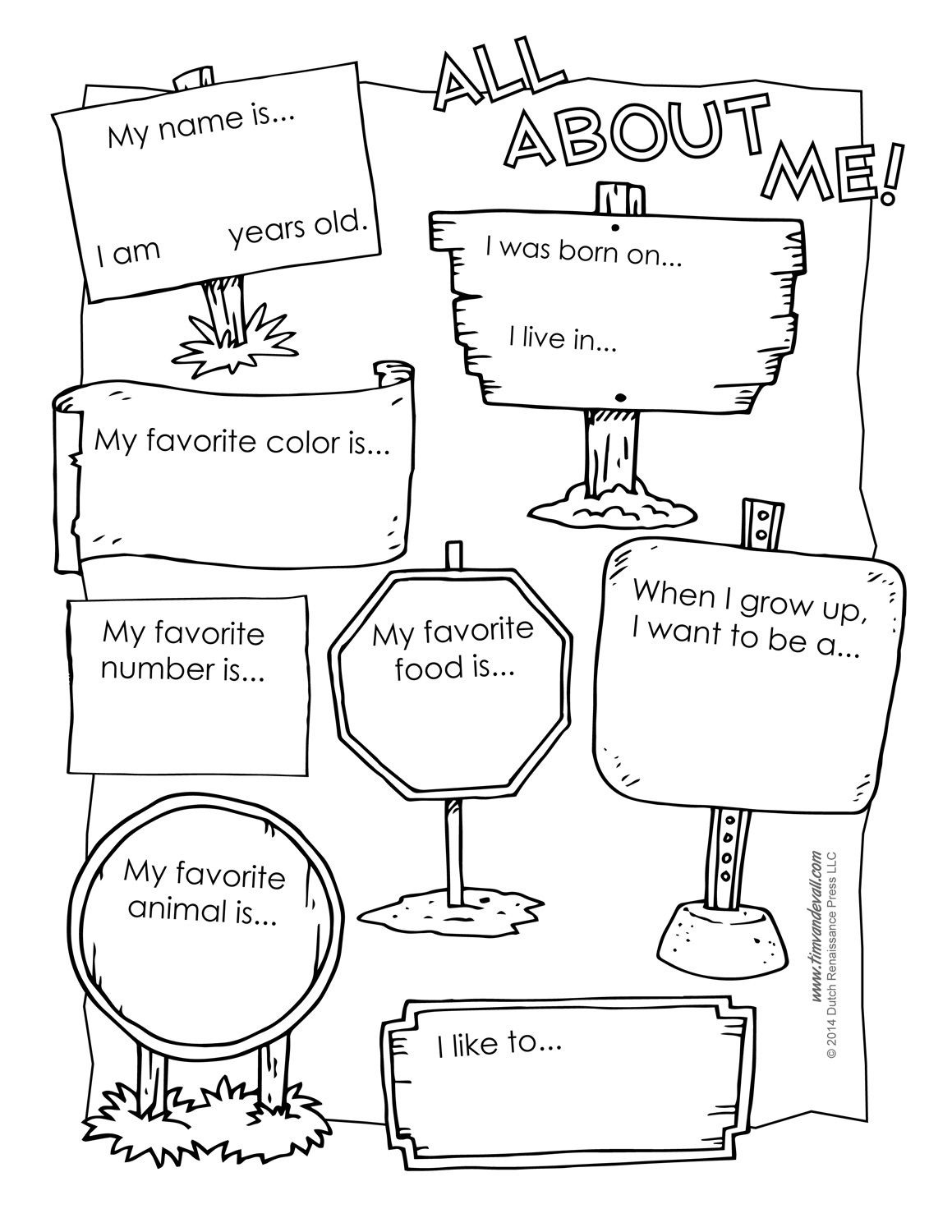 All About Me Printable Worksheet