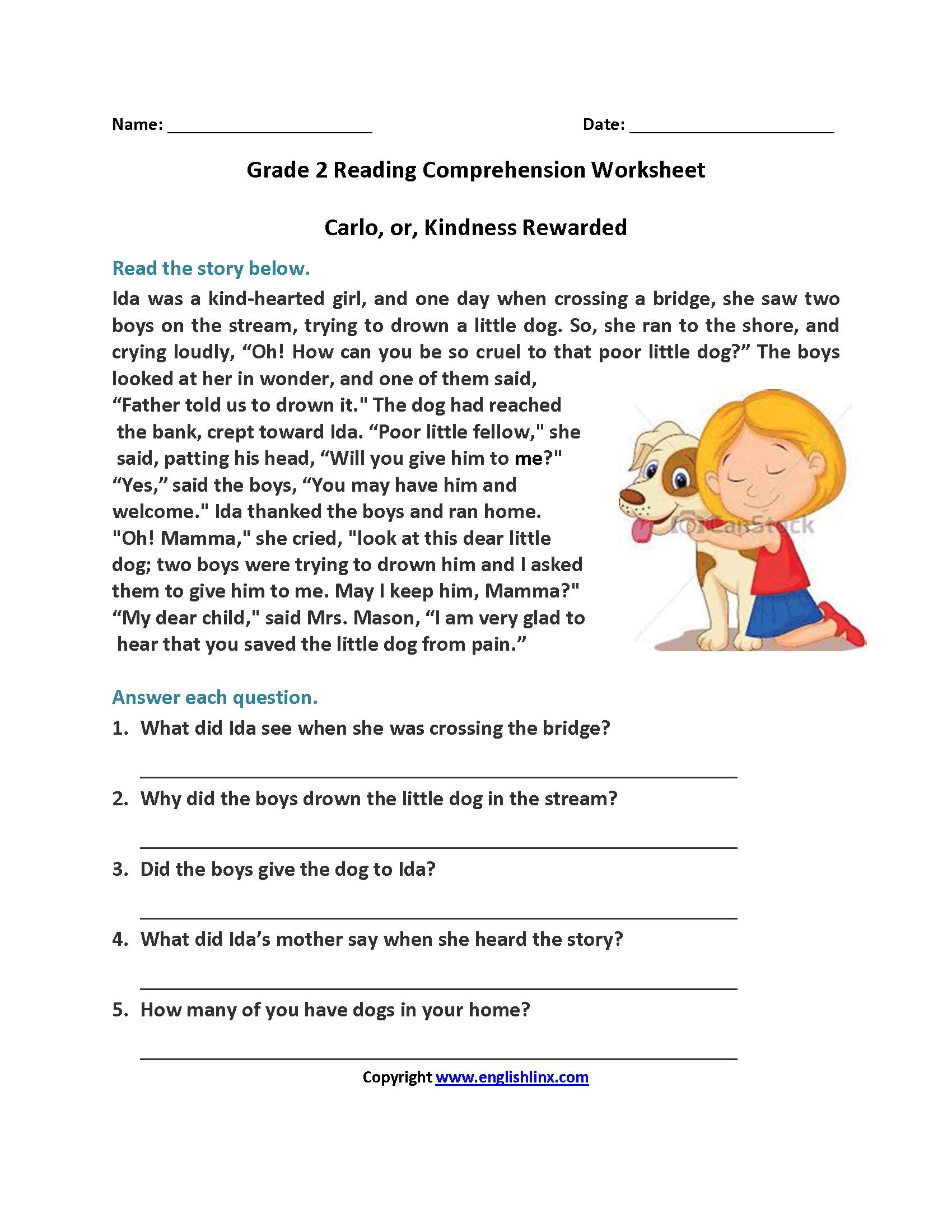 Printable Worksheets Reading Comprehension