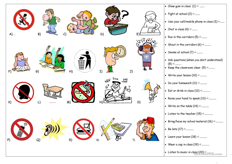 36 Free Esl Classroom Rules Worksheets