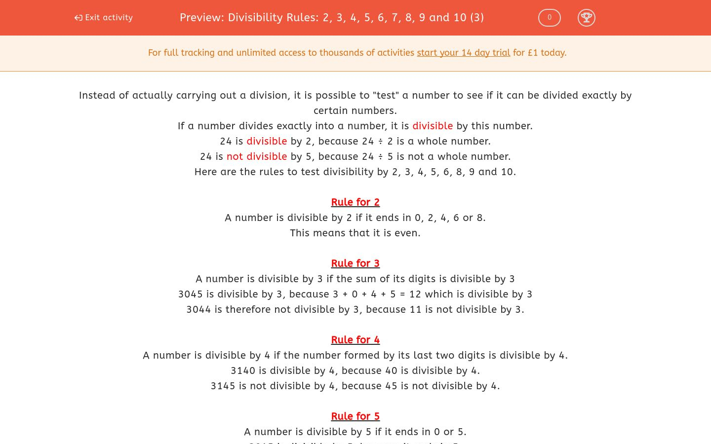 Divisibility Worksheets Printable