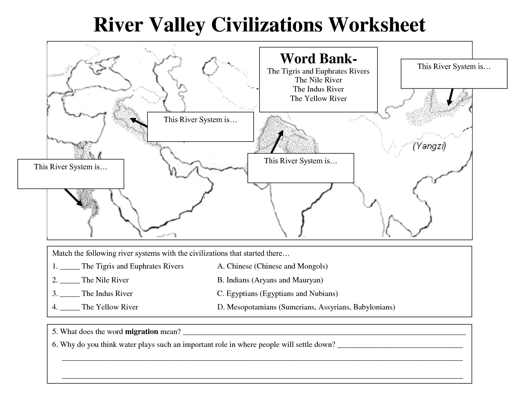 Asia Continent Printable Worksheet