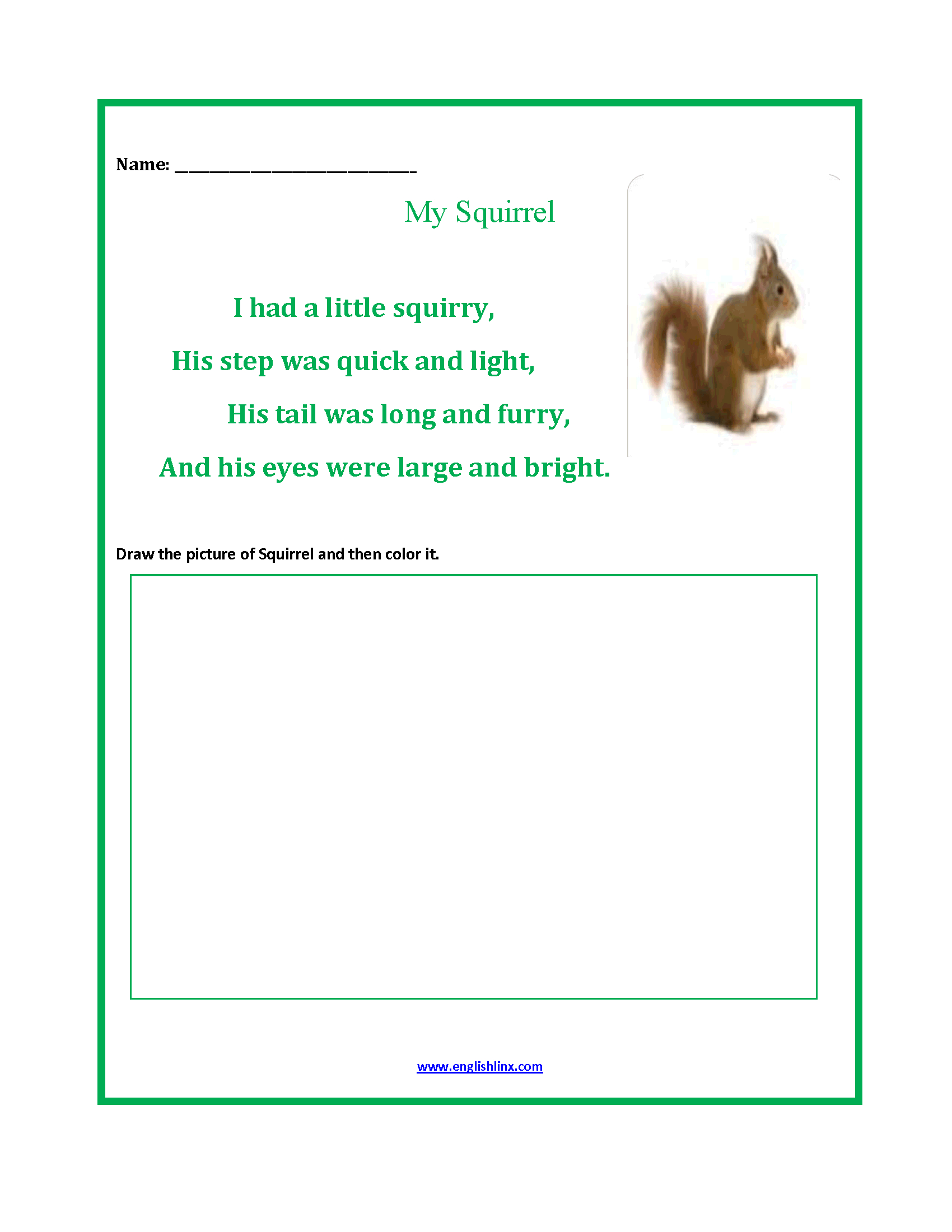 Blank Illustrated Acrostic Poem Worksheets Handwriting