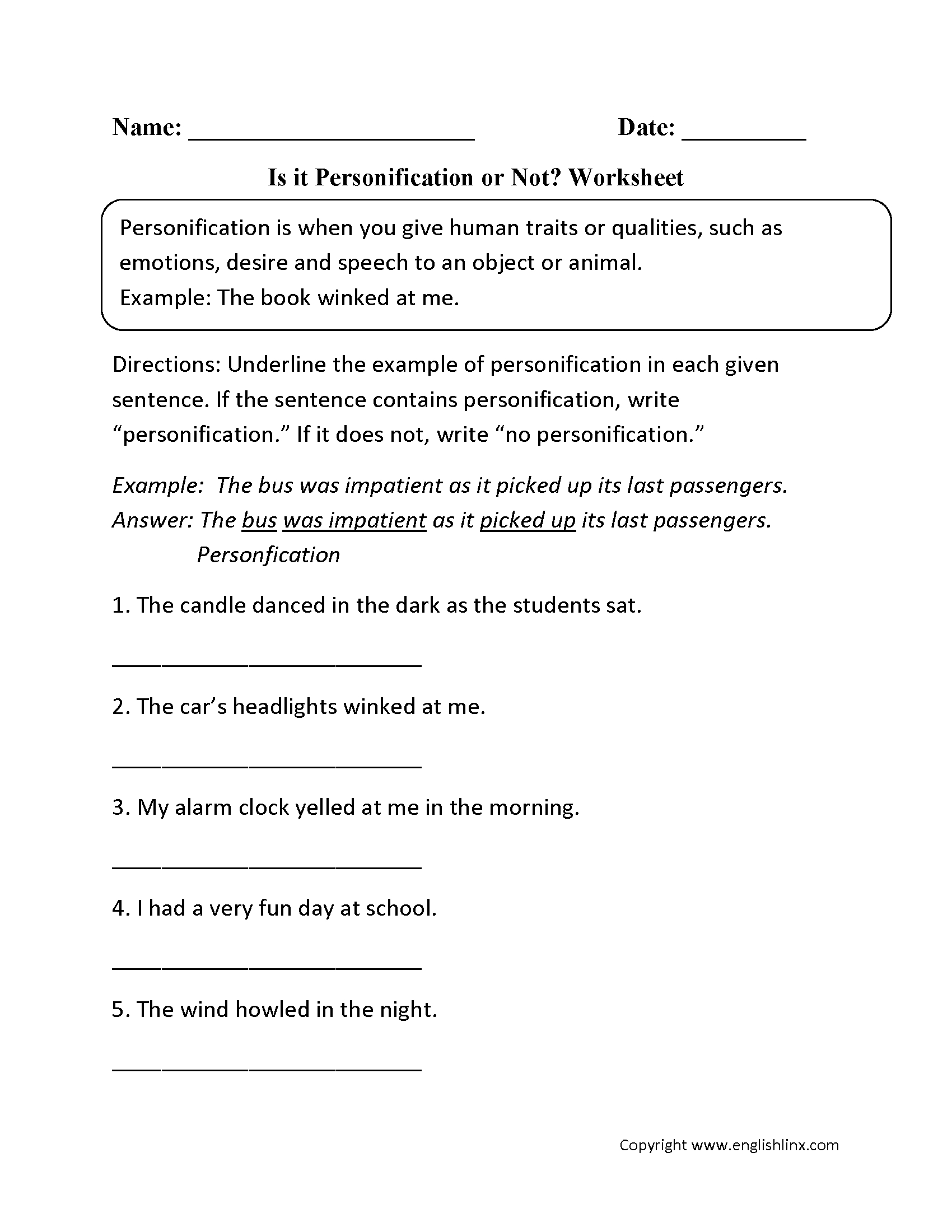 Printable Personification Worksheets