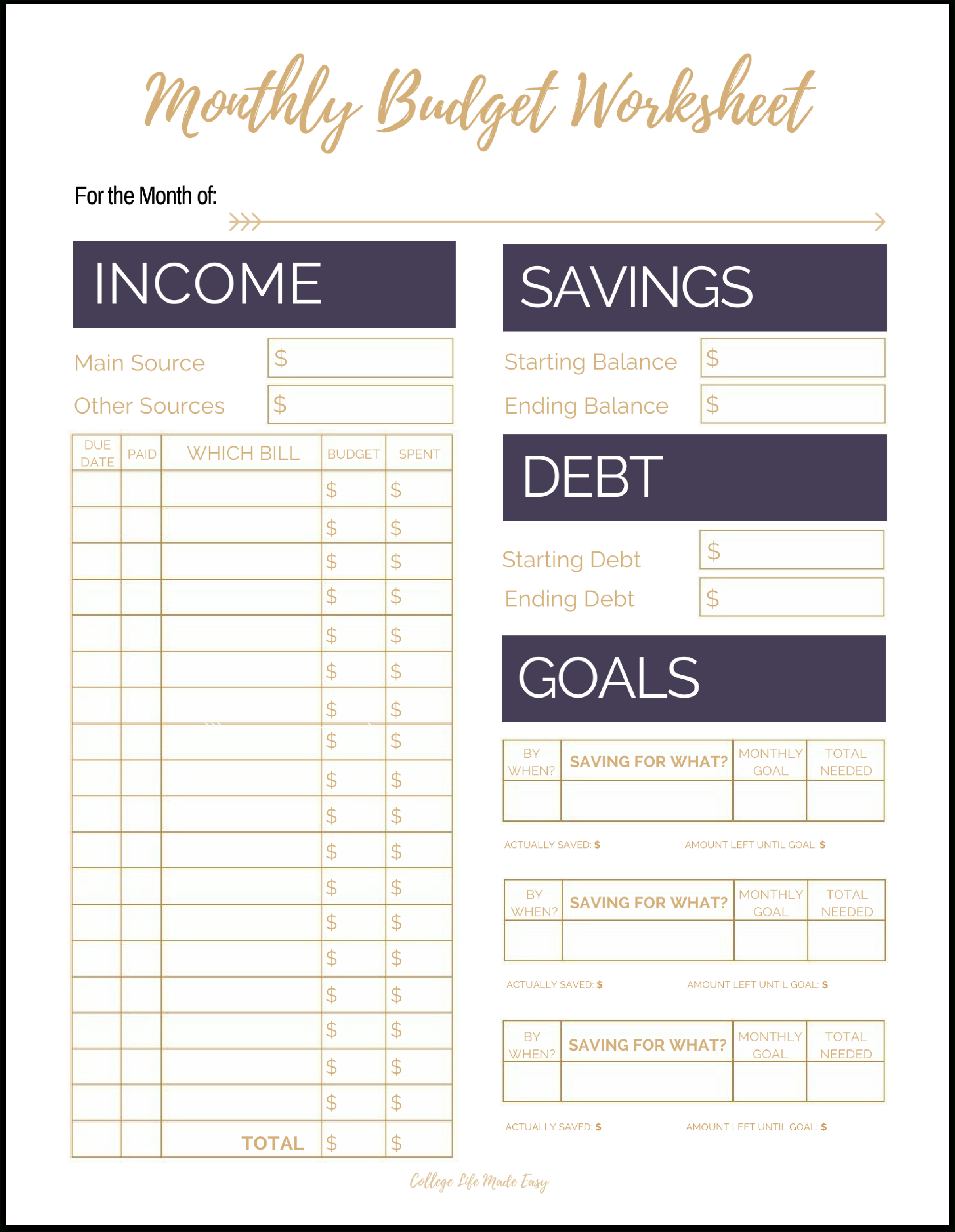 Free Printable Monthly Bills Worksheet