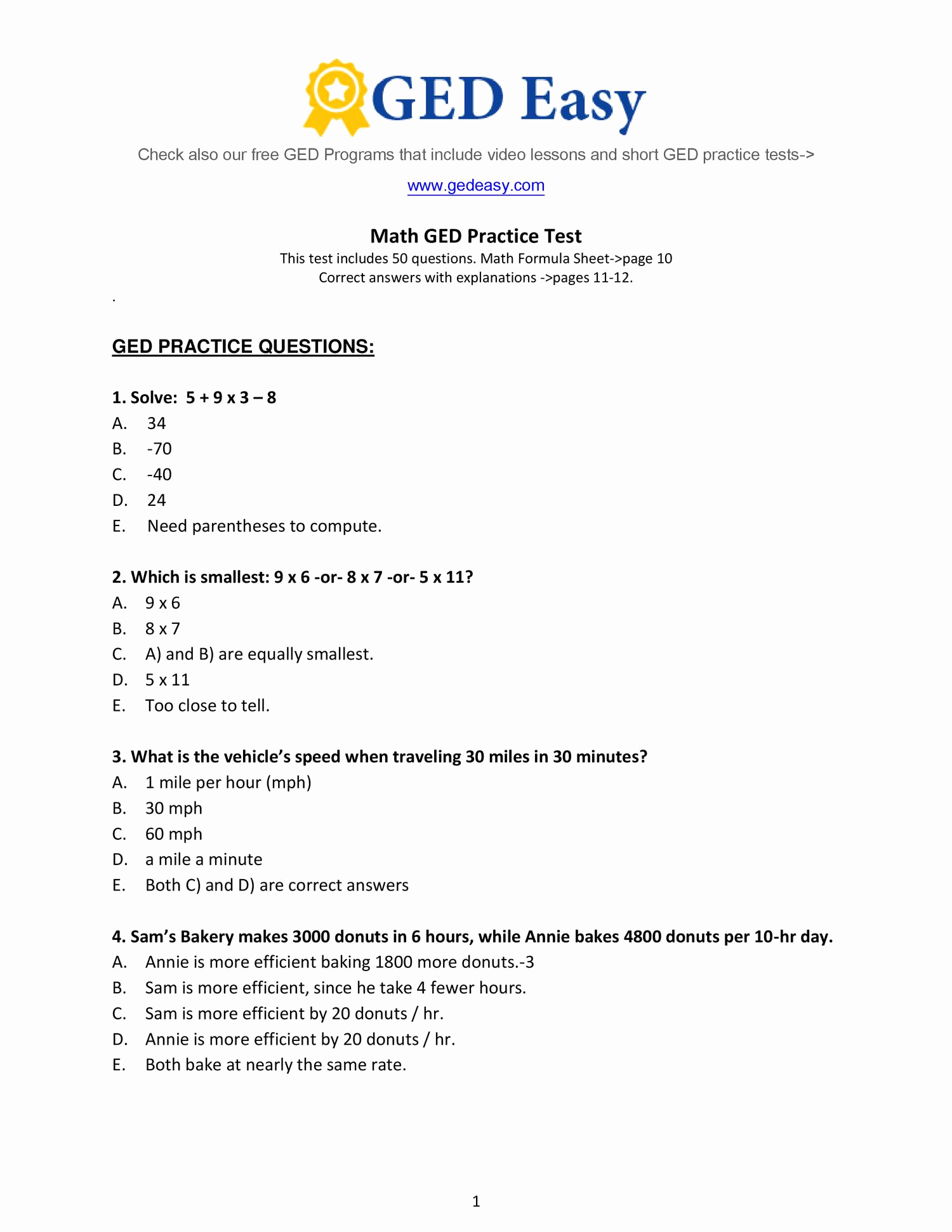 Free Printable Algebra Practice Worksheet