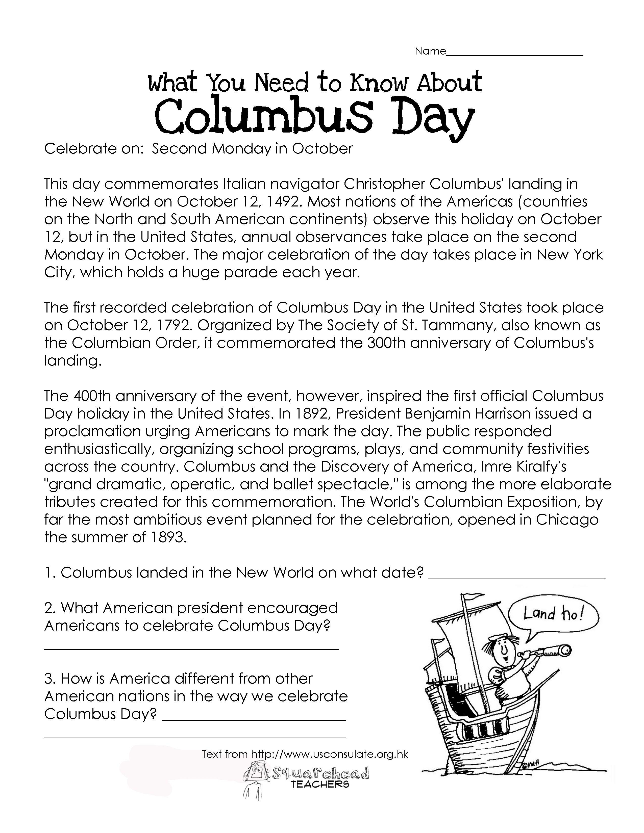 Columbus Day Worksheets Printable