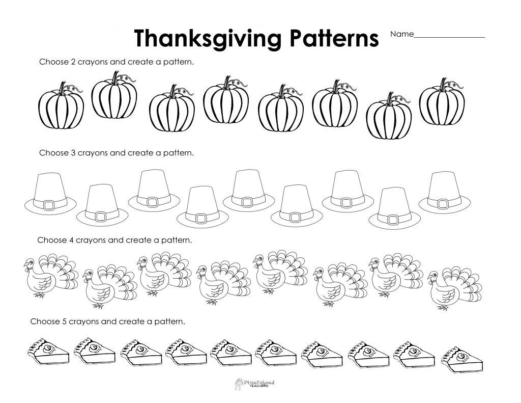 Making Patterns Thanksgiving Style Free Worksheet