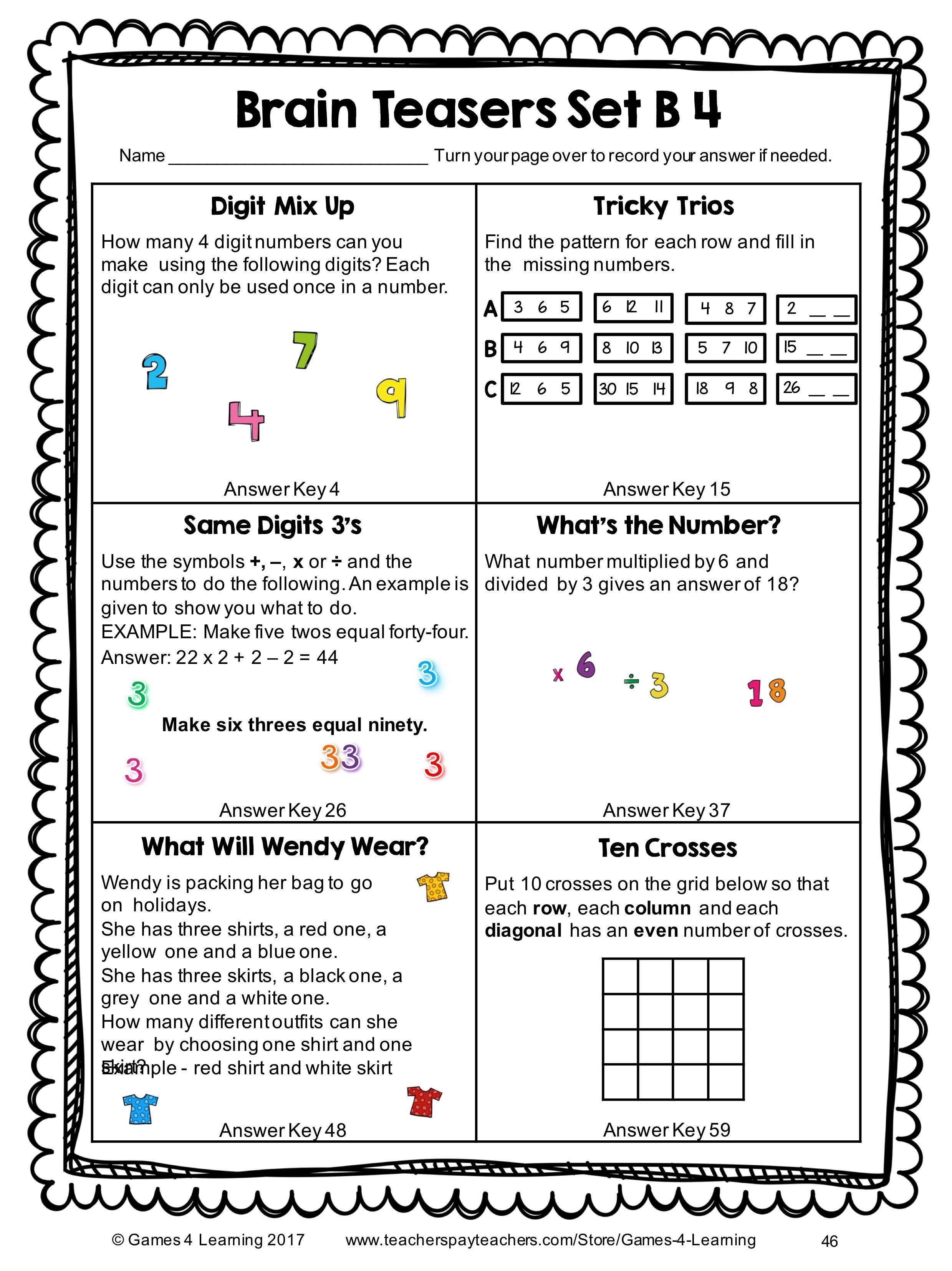 Printable Math Riddles Worksheets