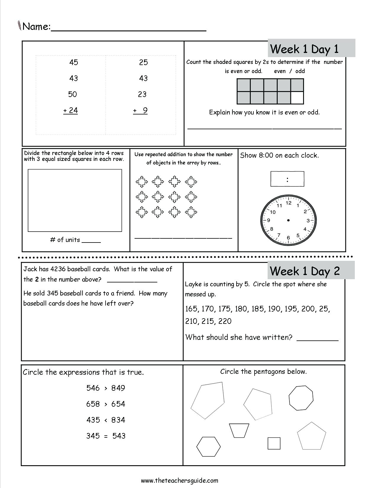 6th Grade Math And Reading Printable Worksheets