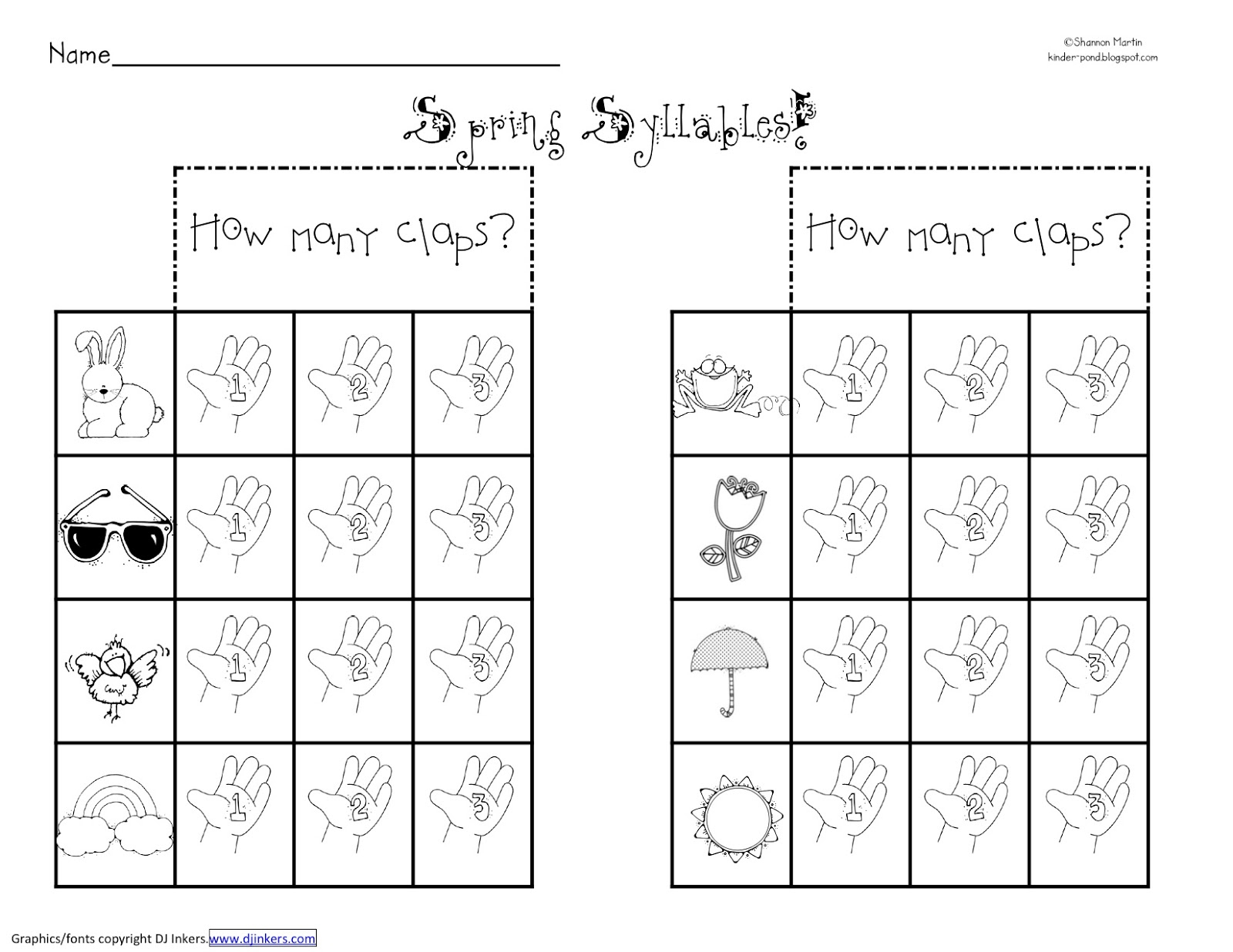 Free Printable Syllable Worksheets For Kindergarten