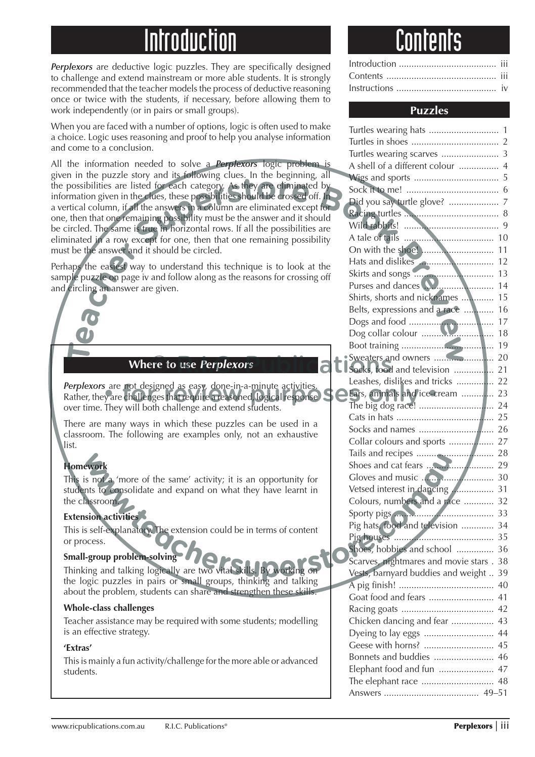 Printable Perplexors Worksheets