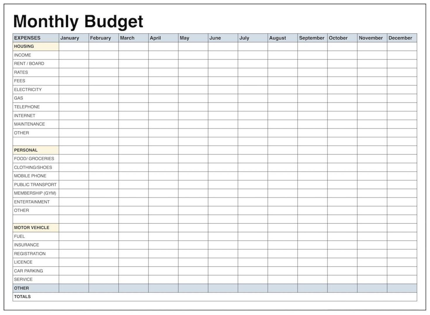 Blank Personal Budget Worksheet Printable