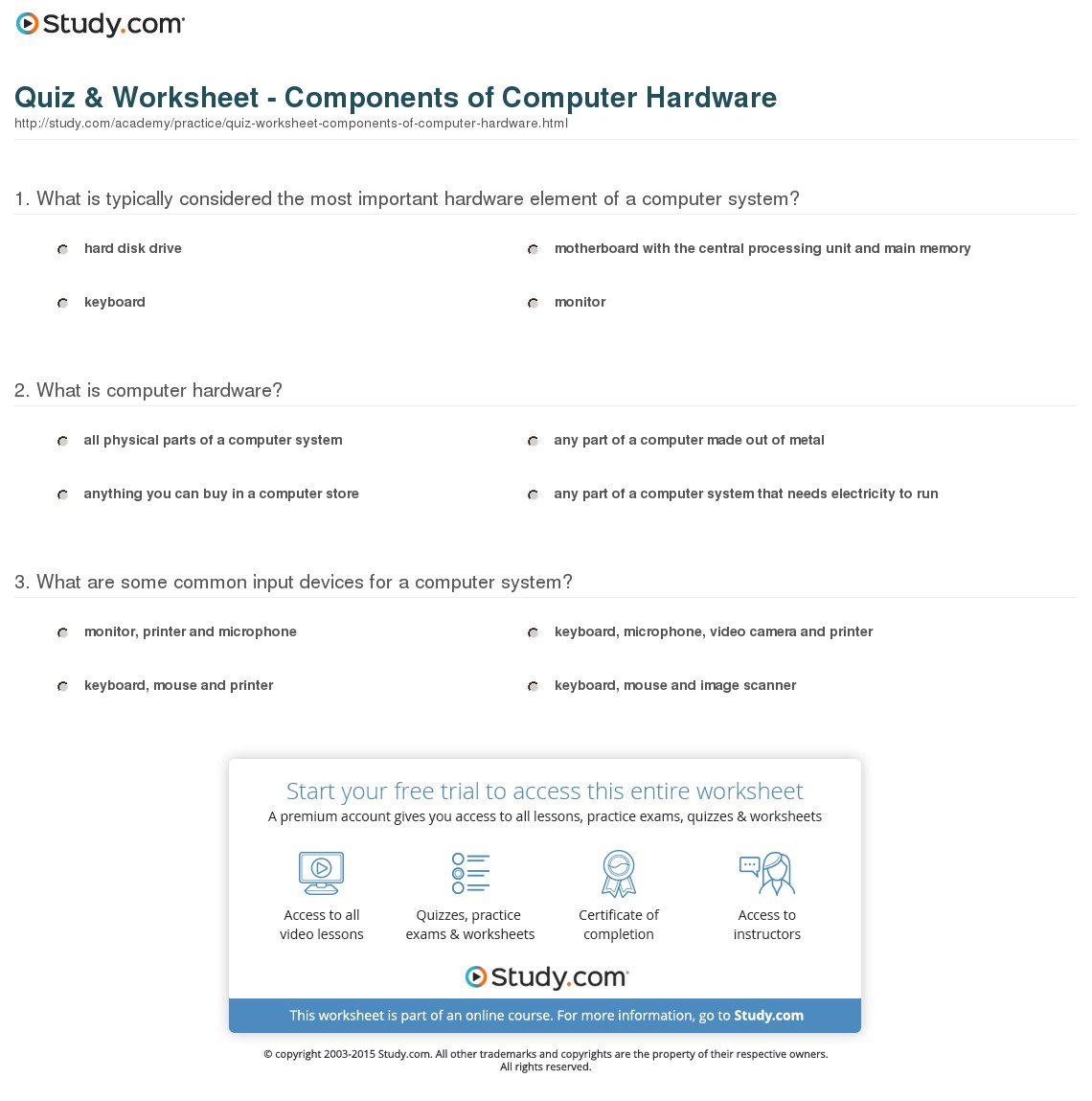 Parts Of A Computer Worksheet Printable