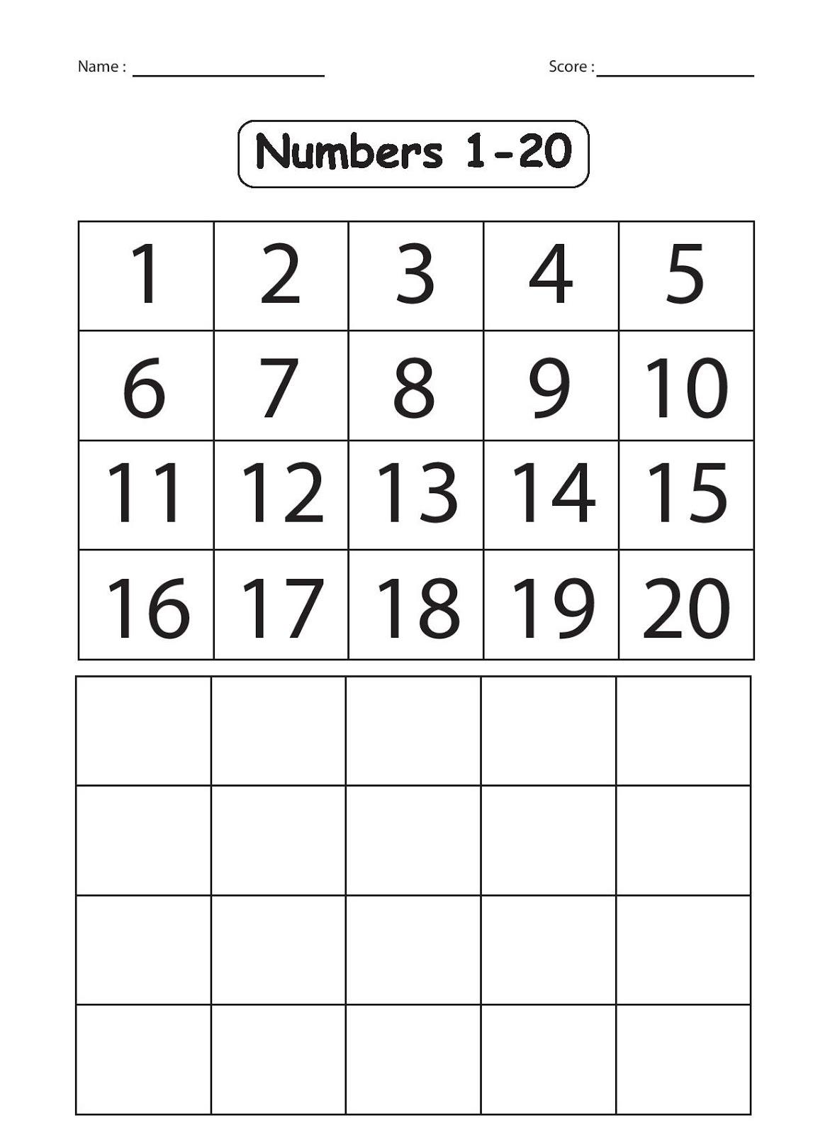 Writing Numbers 1 20 Printable Worksheets