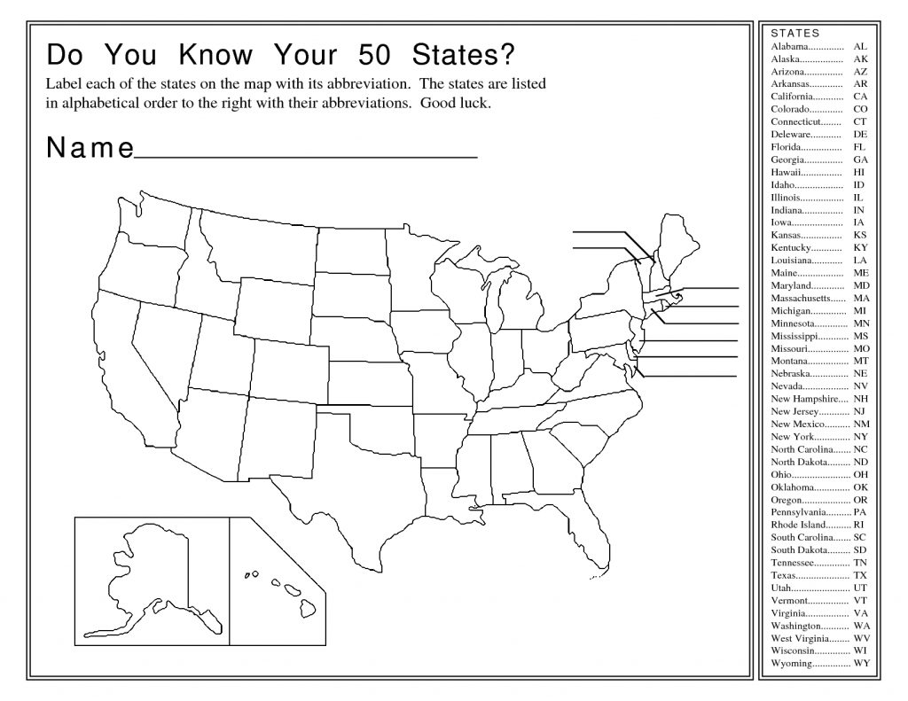 United States Map Activity Worksheet