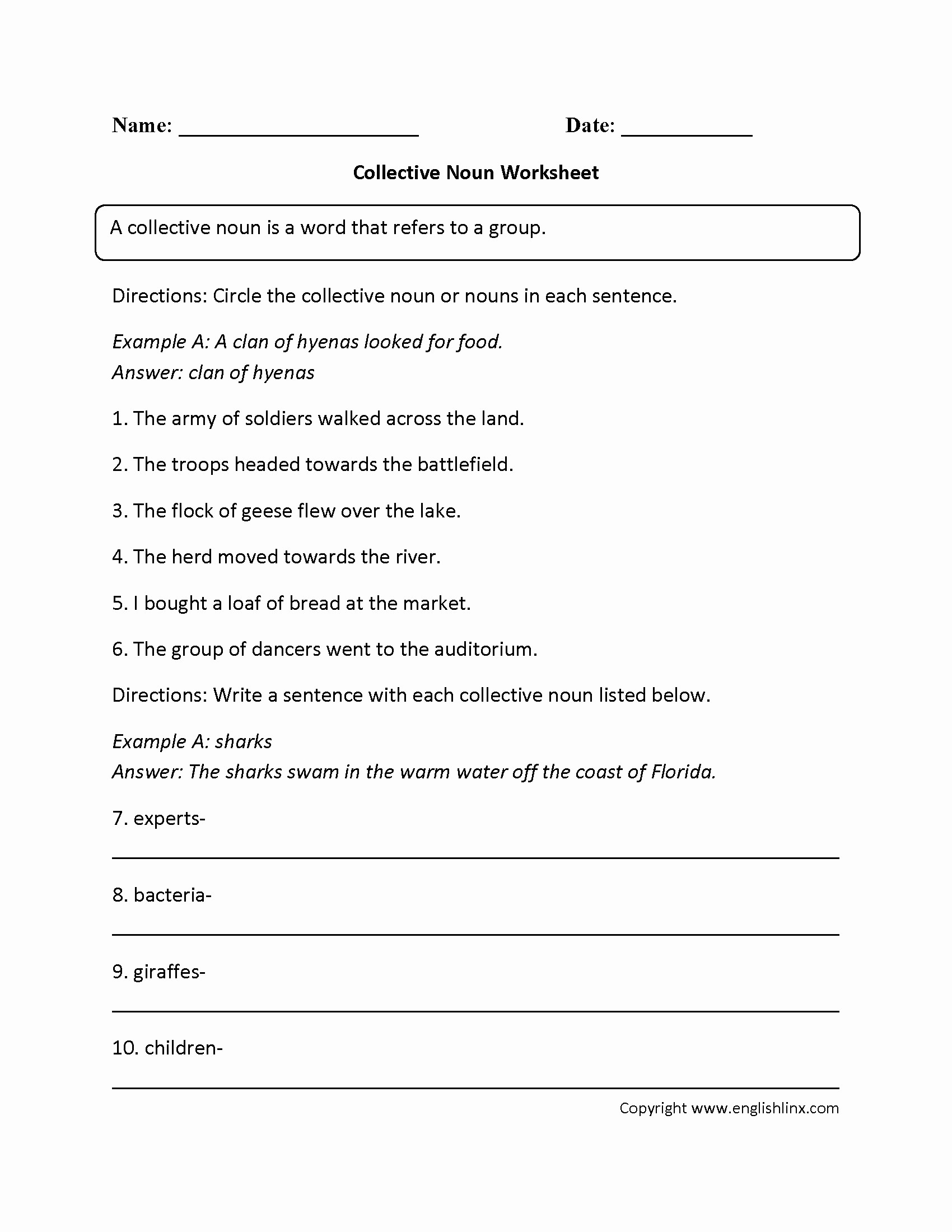 Free Printable English Worksheets For 3rd Grade