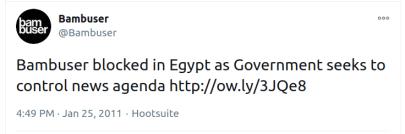 """نشر المسؤولون عن موقع """"بامبوزر"""" تغريدة أكدوا فيها تعرض خدماتهم للحجب في مصر"""