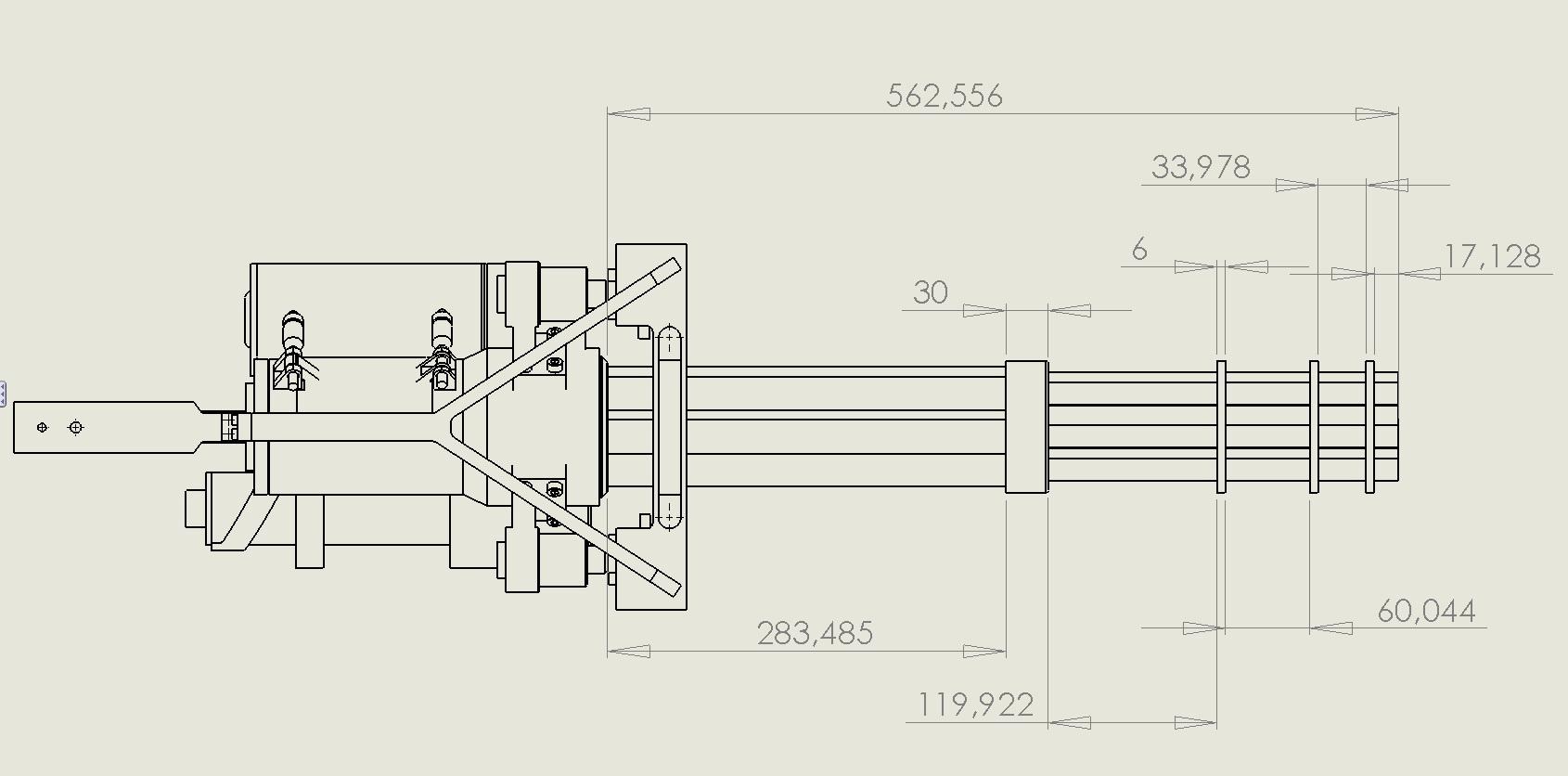 Softair M134 Minigun Ritning