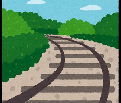 奥へ続く線路のイラスト