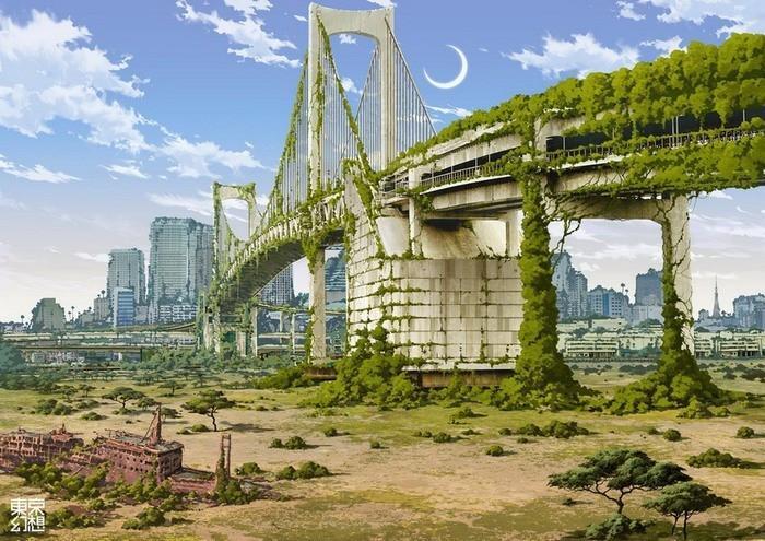 Радужный мост, соединяет город с насыпным островом Одайбо. Токио.