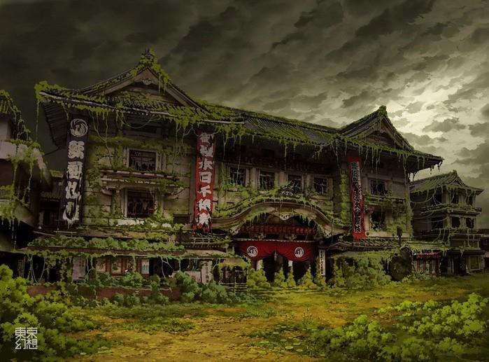 Театр Кабуки (Кабуки-Дза), Гинза. Токио.  рисунок