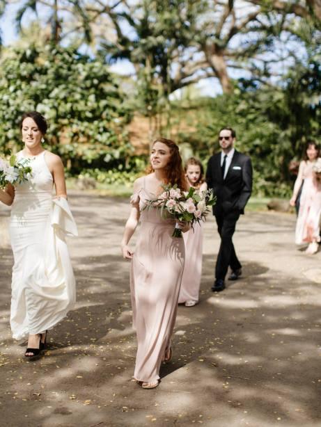 bridesmaid walking