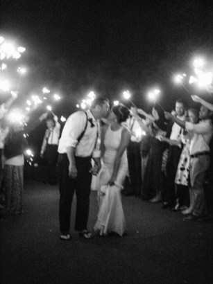 bride and groom's sparkler exit