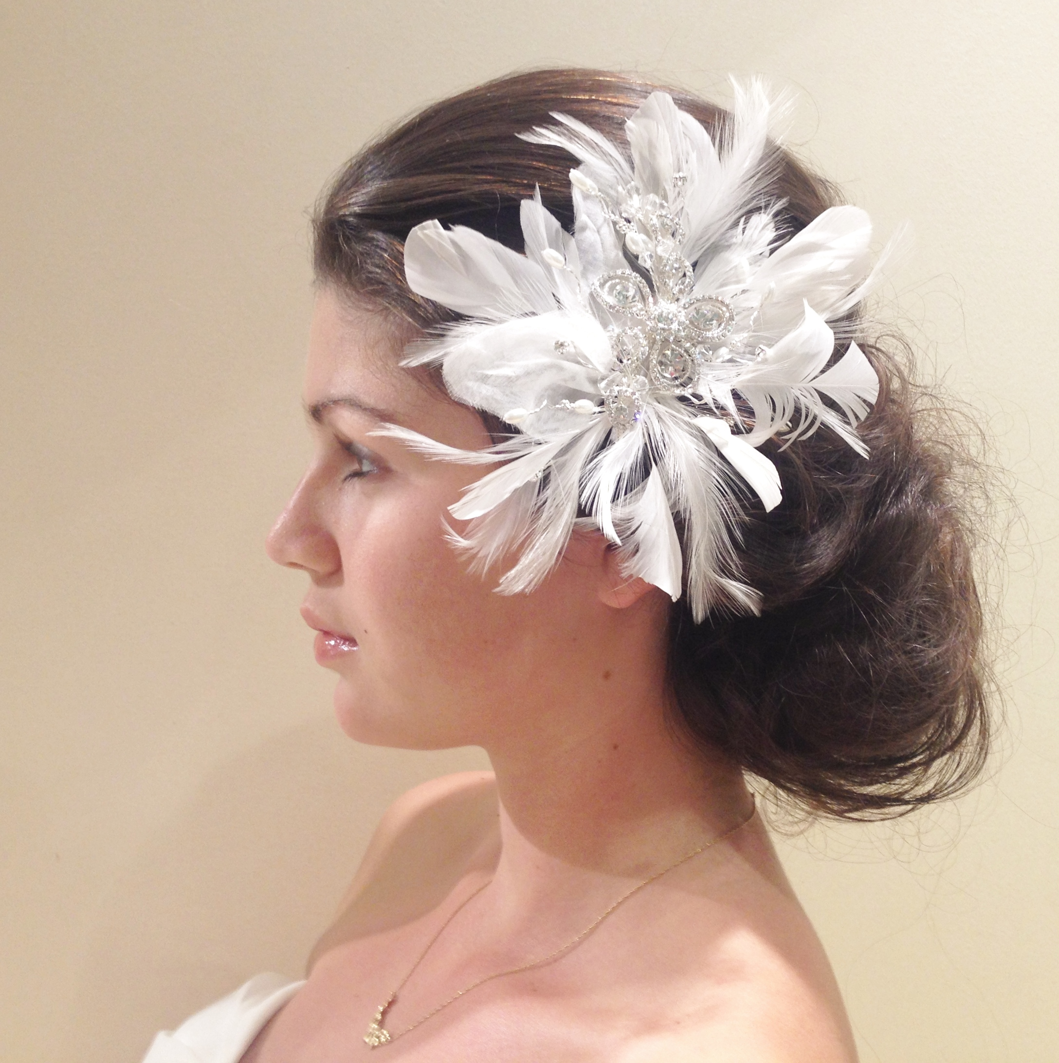 feather floral head piece