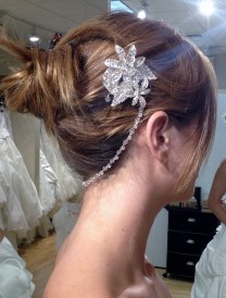 two part crystal hair piece with chain