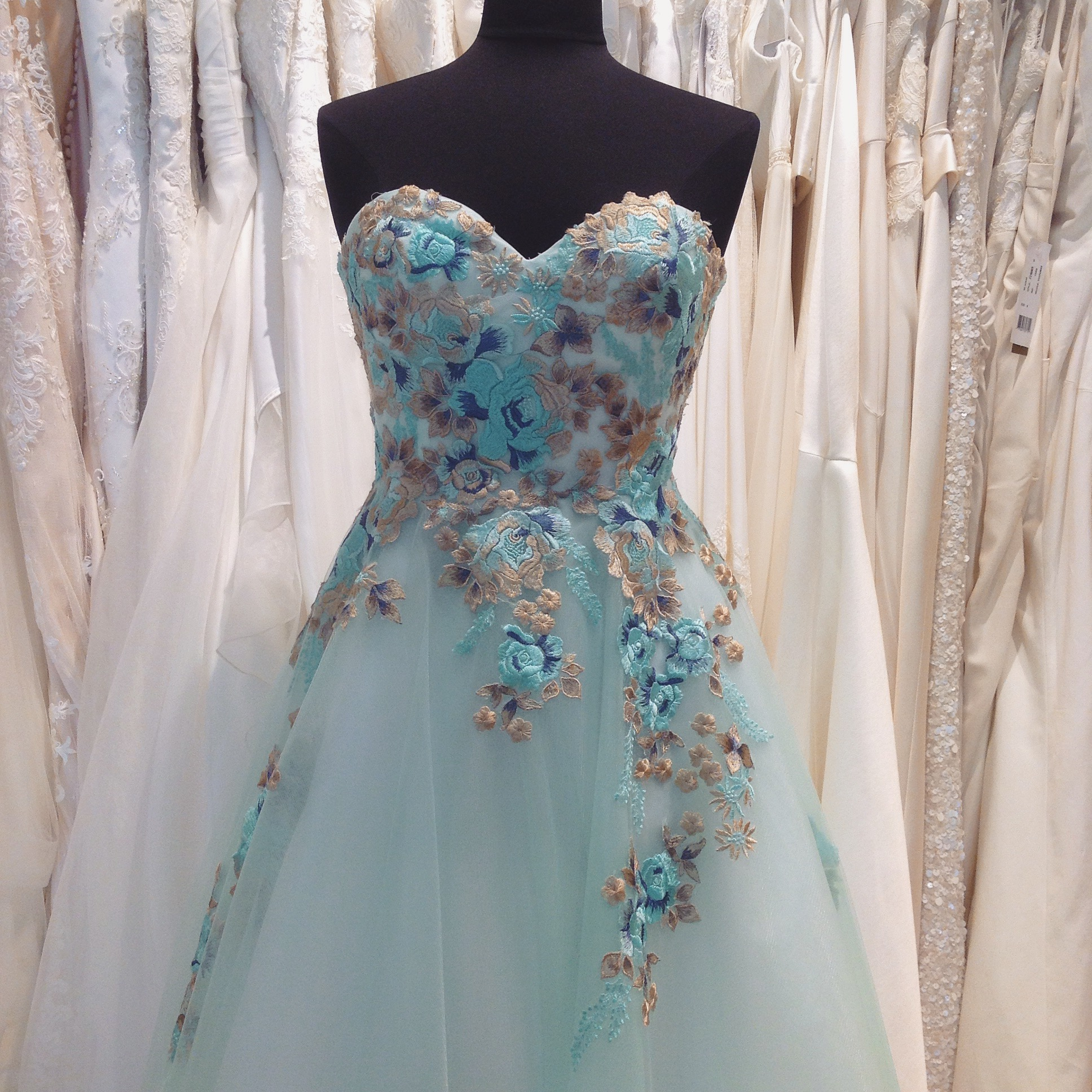 Blue tulle with blue and gold lace applique wedding dress