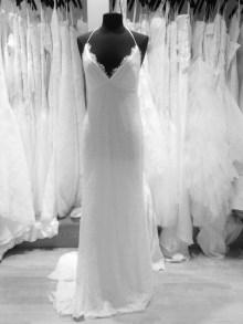 Nicole Miller low back cross back lace sheath wedding dress