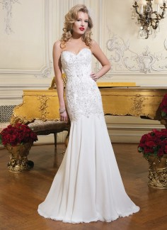 Justin Alexander beaded mermaid cut organza wedding dress
