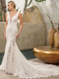 2306 Savannah wedding dress lace mermaid low back