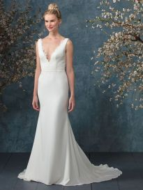 BL236 front wedding dress deep v