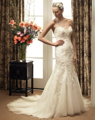 Casablanca Fall 2015 lace sweetheart trumpeted Wedding Dress