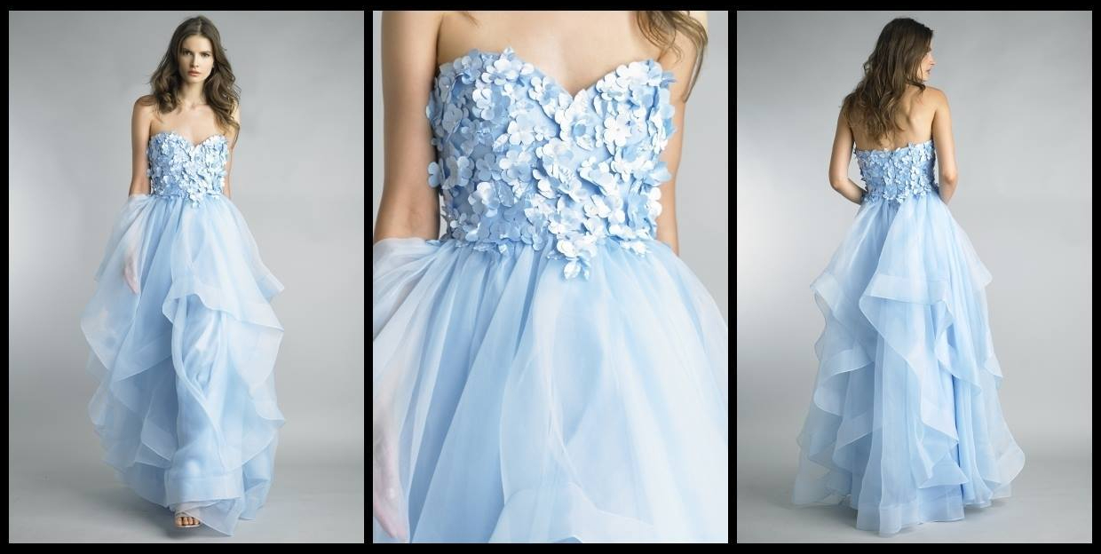 Blue layered skirt wedding gown with floral appliques